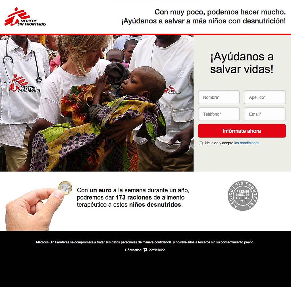 Medicos sin Fronteras Landing Page